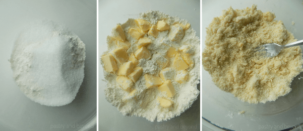 Steps of making lemon curd bars: Mixing flour and sugar. Cutting the butter into the flour mixture with a fork.