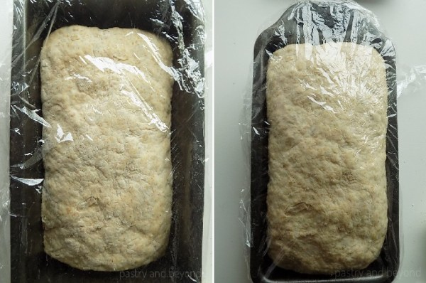 Dough in a pan before and after proving.