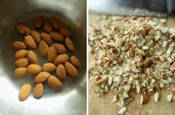 Almonds in a pan to be toasted. Chopped almonds on a cutting board, chef knife on the back.