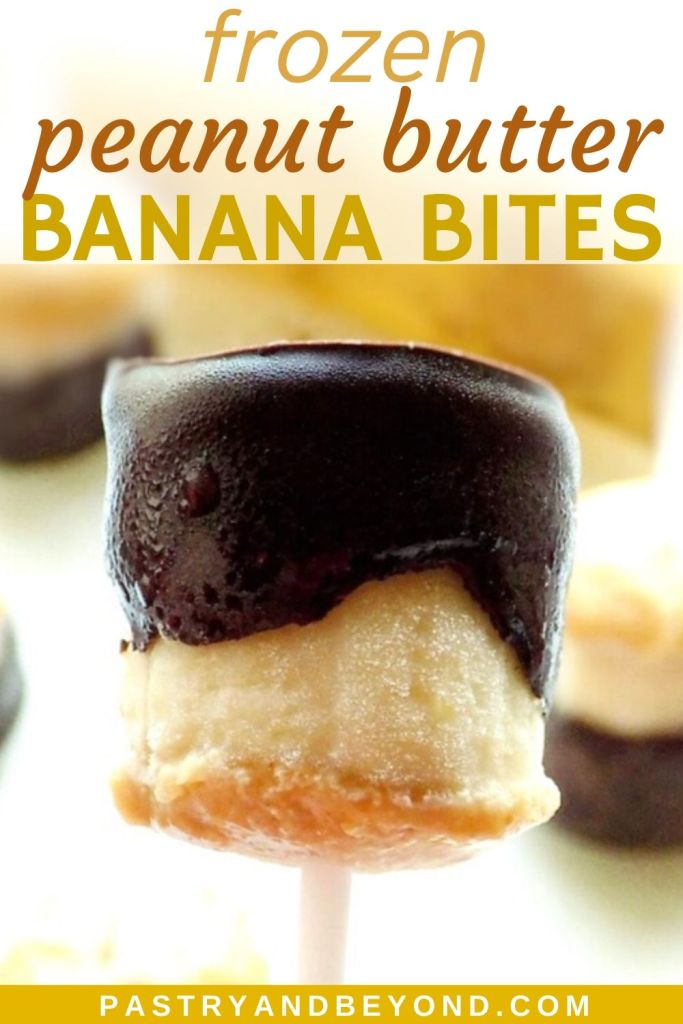 Pin of chocolate covered peanut butter banana bite