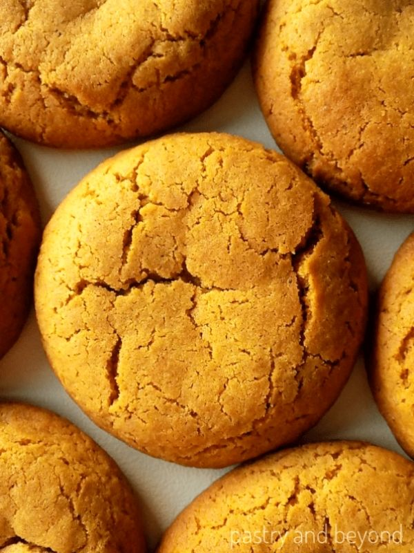 Overhead view of soft molasses cookies.