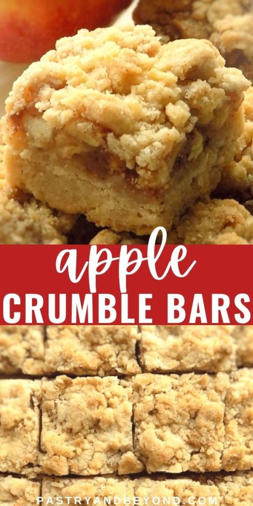 Sideview and overhead view of apple pie bars with text overlay.