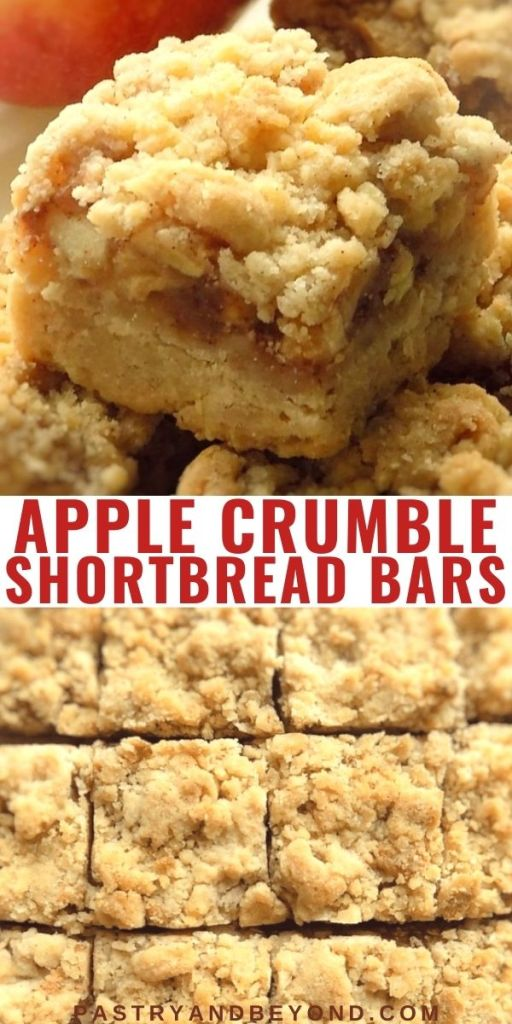 Overhead and side view of apple pie bars