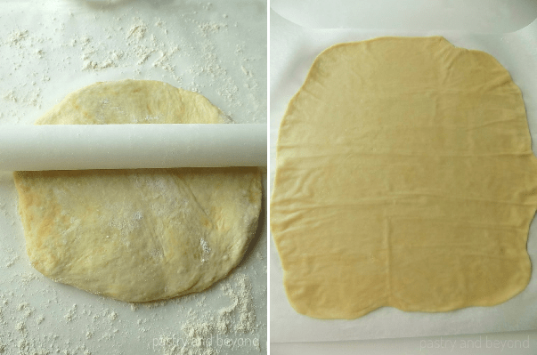 Collage of dough with a rolling pin on top and rolled out dough.