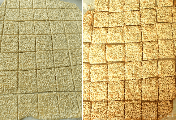 Sesame crackers before and after baking.
