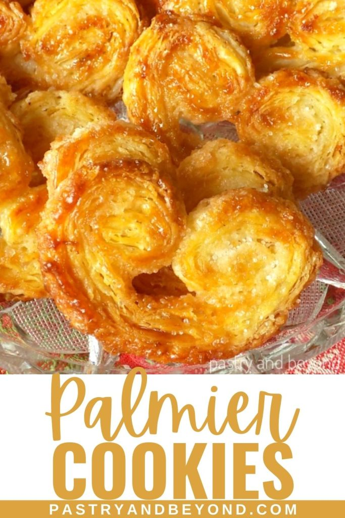 Palmier cookies in a row with text overlay.