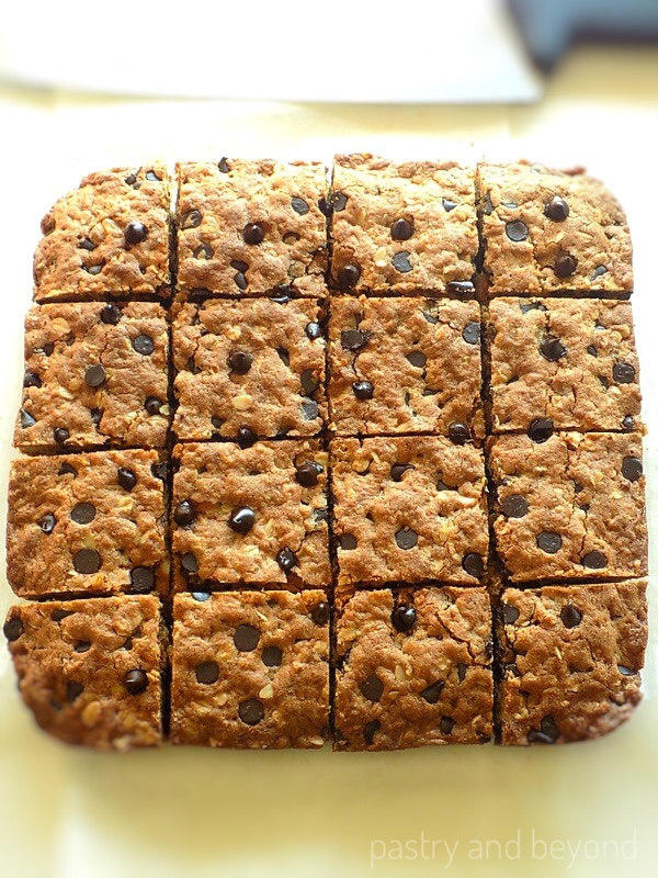 Chocolate chip oatmeal bars cut into 16 pieces.