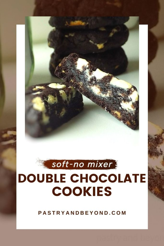 Double chocolate chunk cookie in half.