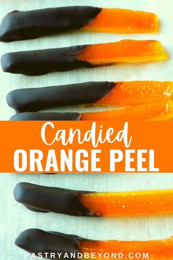 Chocolate dipped orange peel with text overlay.