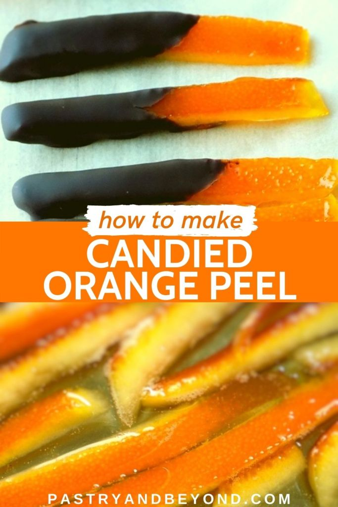 Candied orange peels with text overlay.