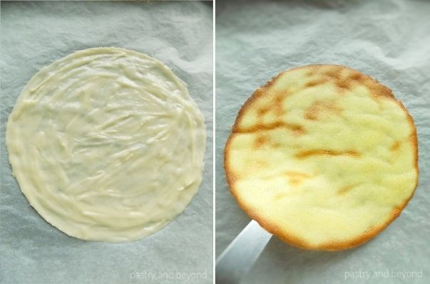 Unbaked tuile batter as a circle on the left, baked tuile cookie on the right.