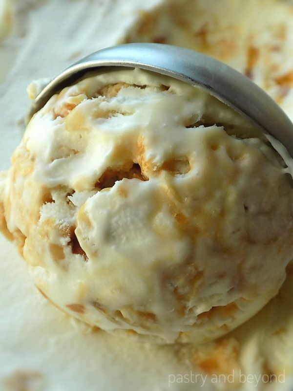 Scooping praline ice cream.