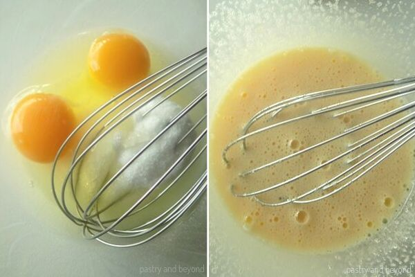Whisking the egg and sugar until combined well in a glass bowl.