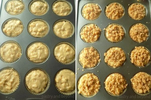 Placing the apple muffin batter into the cupcake liners that is lined in a cupcake pan and cover the top with crumbles.
