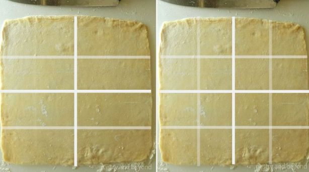 Square dough cut into 16 squares for a small apple turnover option.