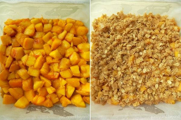 Peach Bars step by step: Placing the peaches over the crust.
