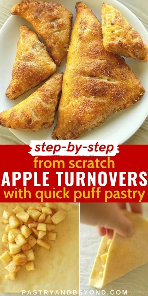 Apple turnovers with text overlay.