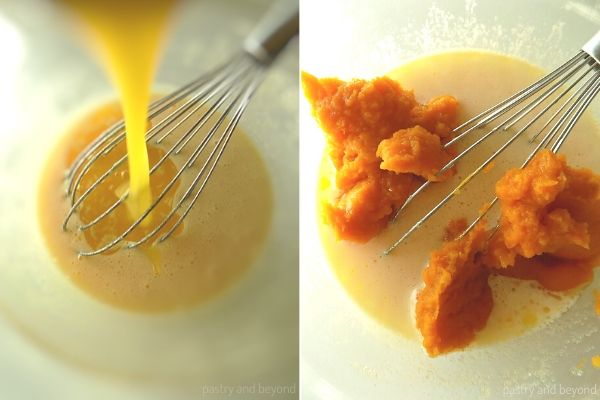 Adding melted butter into the egg mixture and mixing in the pumpkin puree.