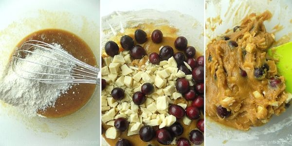 Step by Step for Easy Blondie Recipe-Adding the flour, cranberries and white chocolate into the wet mixture.