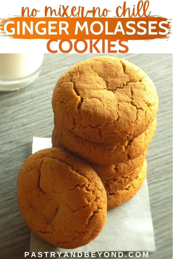 Stacked ginger molasses cookies with text overlay.
