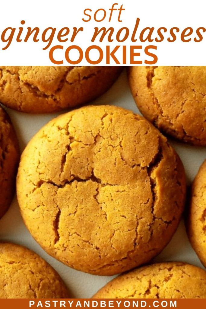 Pin of soft ginger molasses cookies