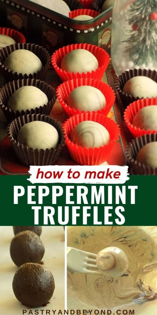 Peppermint truffles in mini cupcake liners with step by step photos.