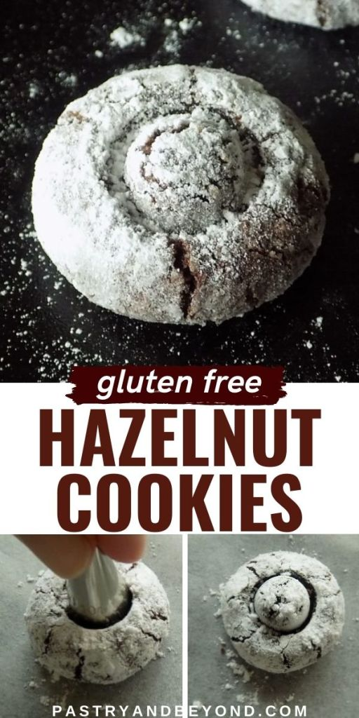 Gluten free hazelnut cookies with text overlay.