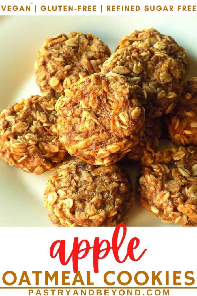 Pin of apple oatmeal cookies on a plate.