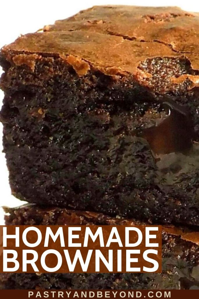 Stacked chocolate brownies with shiny top.