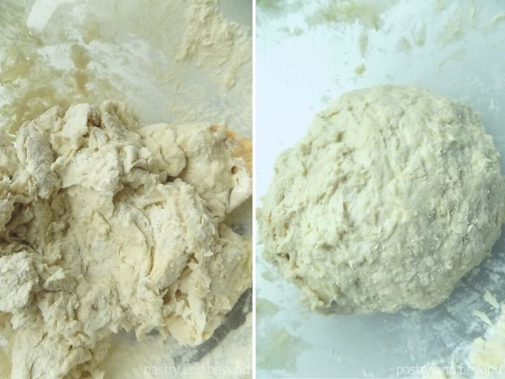 Collage of stirring mixture with a wooden spoon and forming a ball out of the dough.
