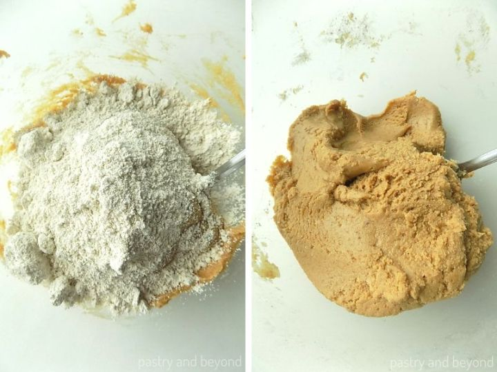 Oat flour over the peanut butter-honey mixture. Mixed peanut butter oat flour mixture in a mixing bowl with a spoon.