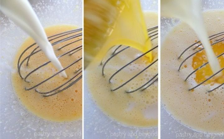 Milk, melted butter and lemon juice are poured over the egg-sugar mixture.