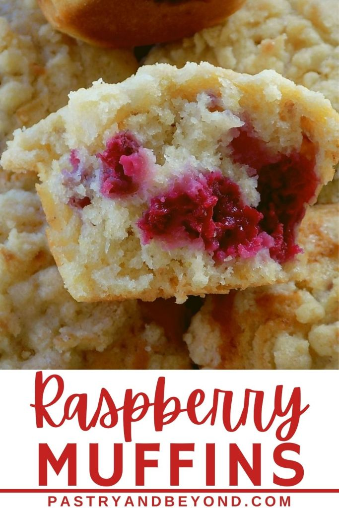 Half of raspberry muffin with text overlay.