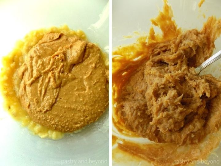 Peanut butter is added on top of mashed banana and mixed together.
