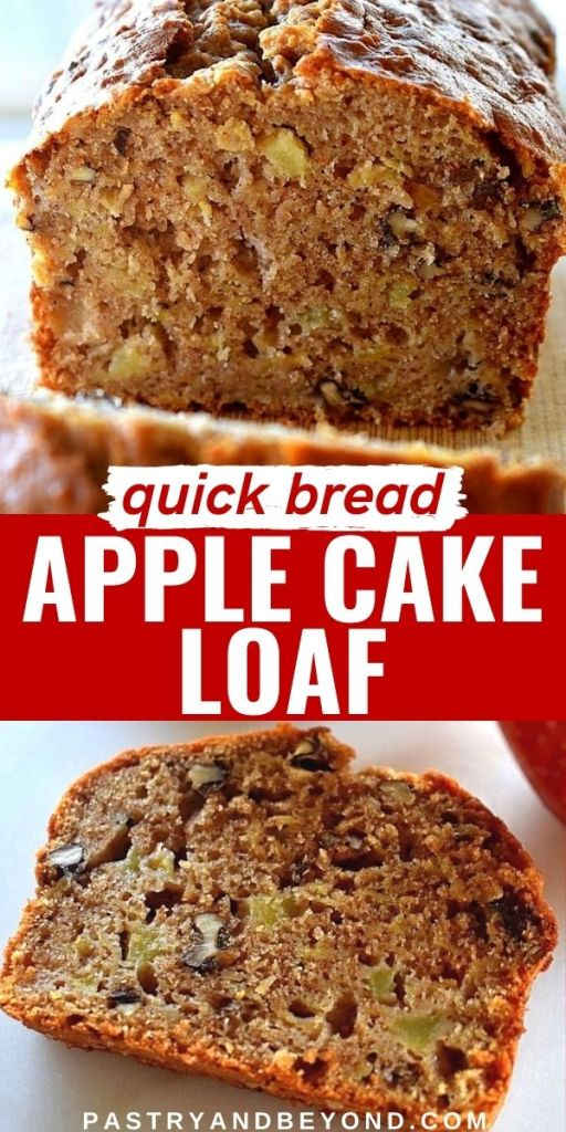 Half of the apple bread and a slice of it with text overlay.