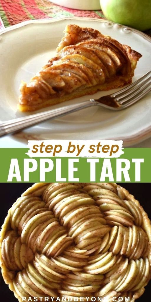 Slice of apple tart and overhead view of unbaked tart with text overlay.