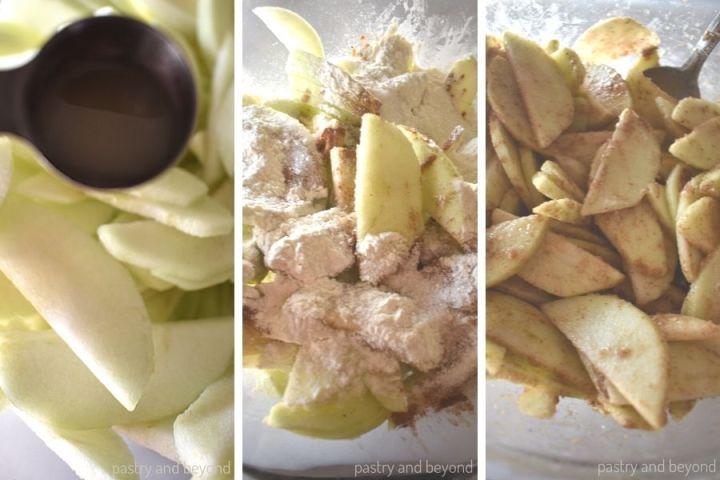 Mixing the apples with lemon juice, nutmeg, cinnamon, sugar and flour.