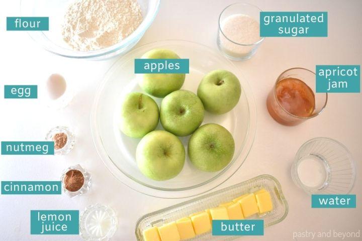 Ingredients needed for apple tart.