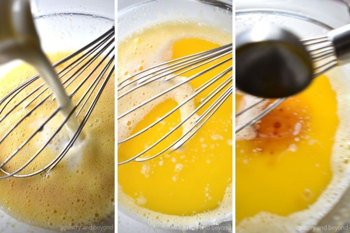 Adding milk, melted butter and vanilla extract to the egg mixture.