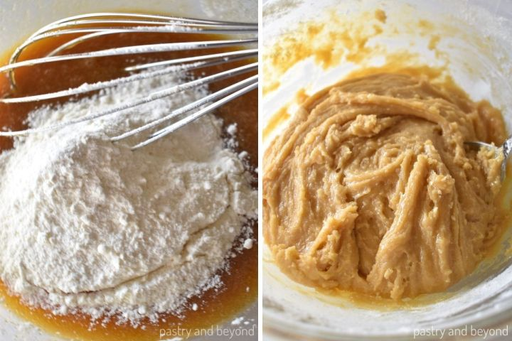 Flour is added into the egg mixture and stirred.