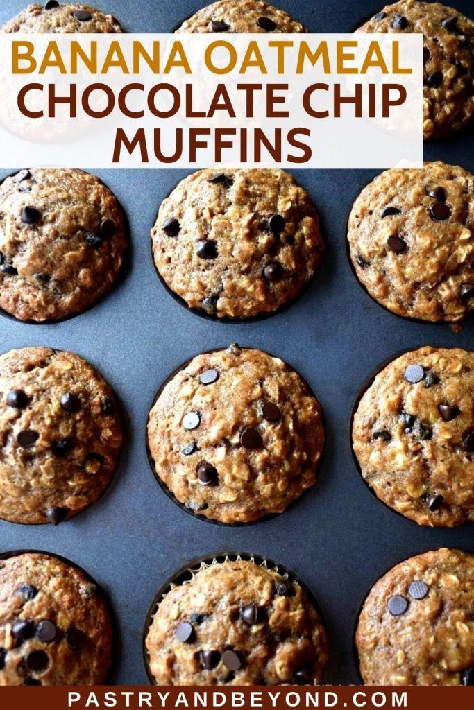 Banana oatmeal chocolate chip muffins in a muffin tin.