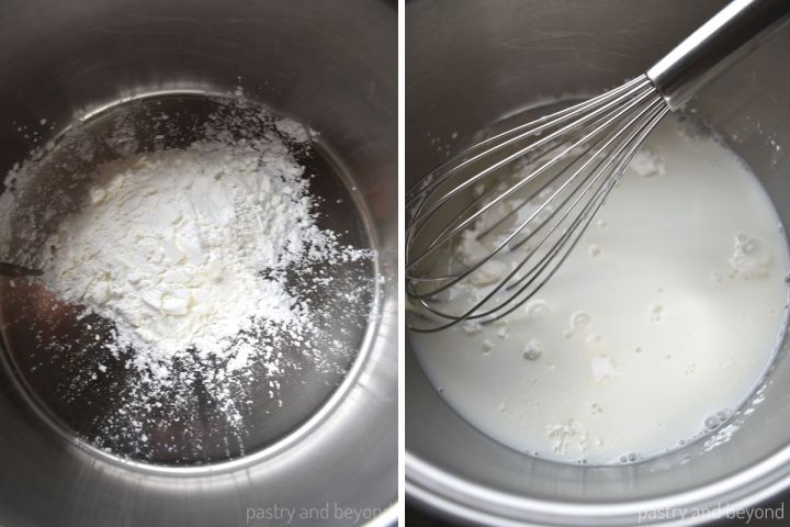 Collage of cornstarch in a pan and milk added on top with a whisk.