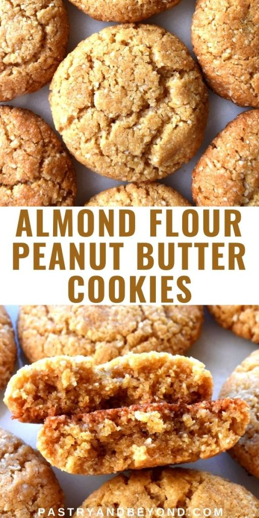 Collage for almond flour peanut butter cookies.