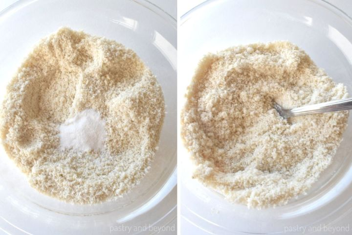 Collage of mixing almond flour with baking soda in a glass bowl.