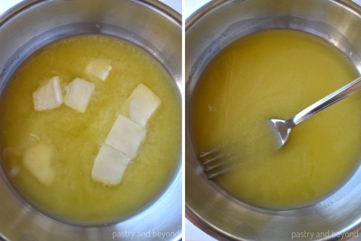 Collage showing the process of melting butter.