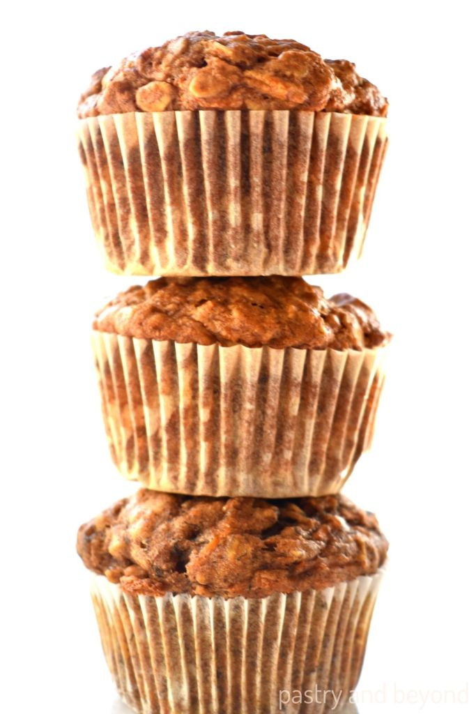 Stacked banana carrot muffins.