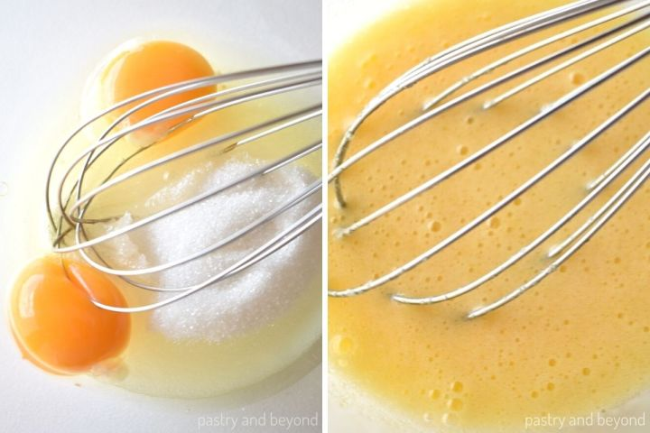Collage for mixing eggs and sugar in a bowl with a whisk.
