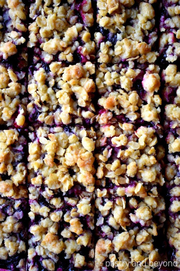 Blueberry bars that are cut into 16 pieces.