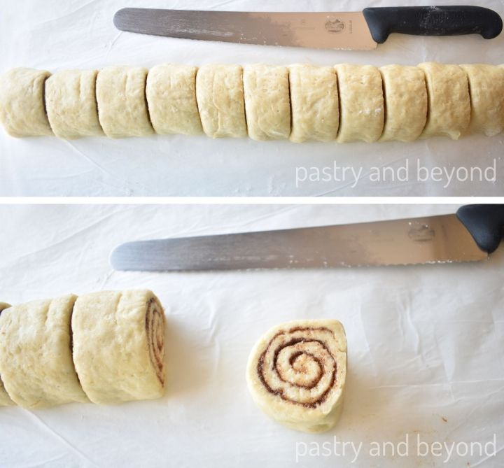 Collage for sliced cinnamon roll dough.