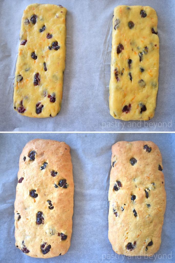 Collage of biscotti before and after baking.